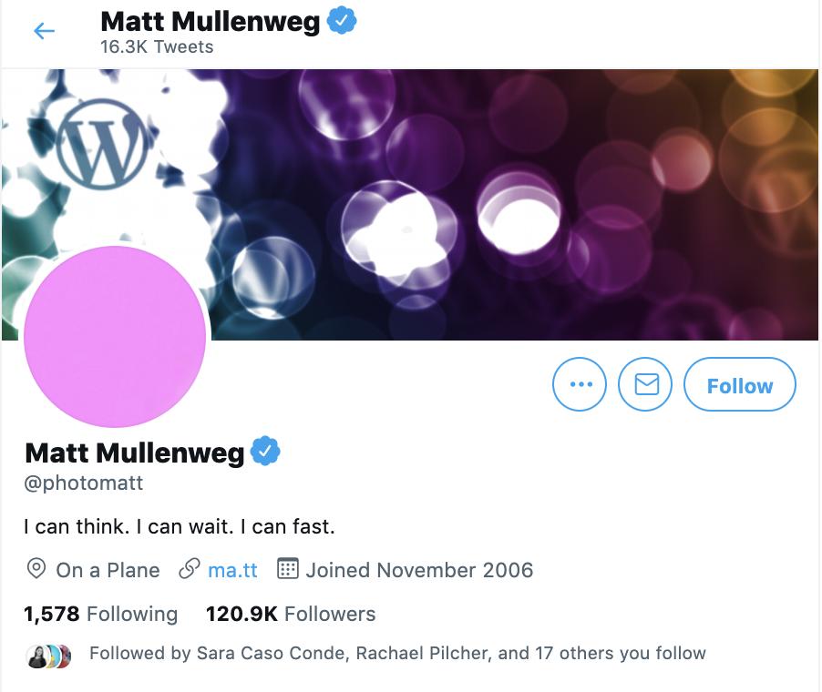 twitter account for matt mullenweg of wordpress