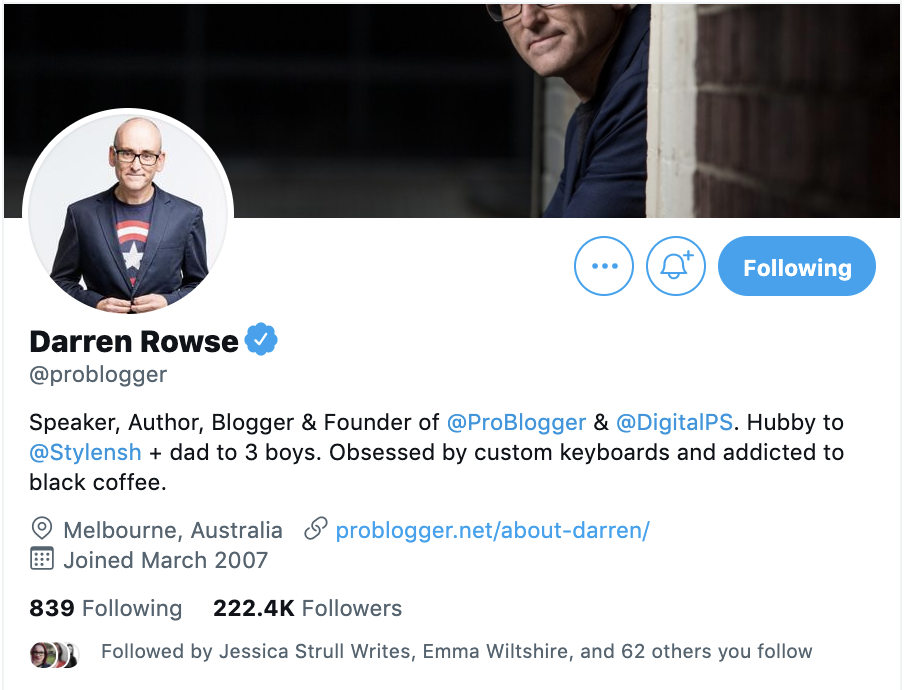 twitter account for darren rowse of problogger