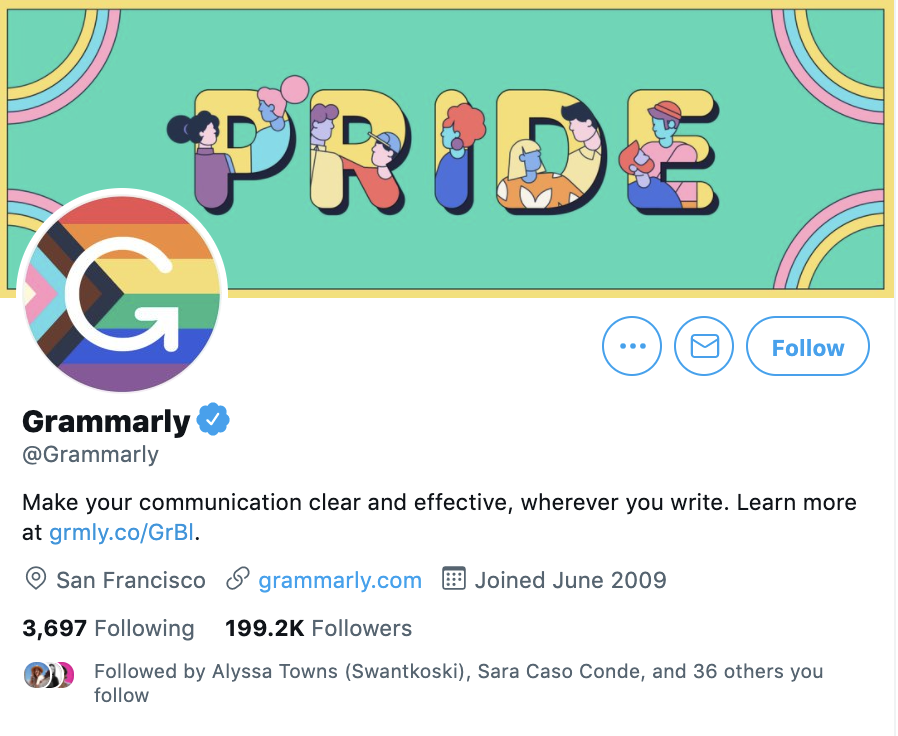 twitter account for grammarly