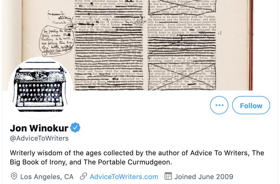 twitter account for jon winokur advicetowriters
