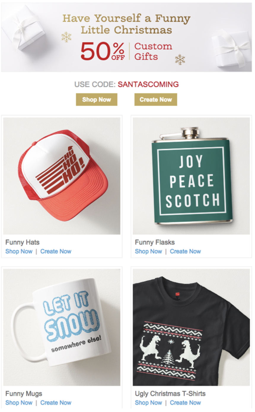 funny holiday email marketing campaign example