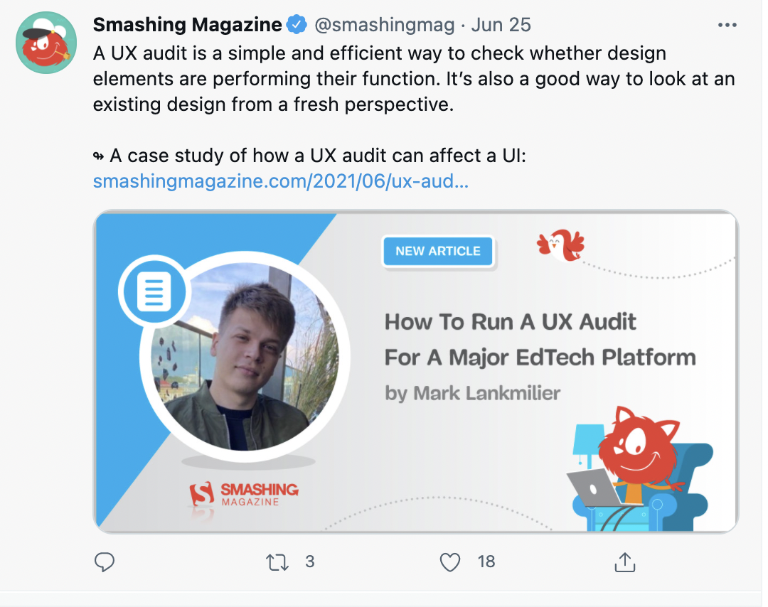 smashing magazine twitter account