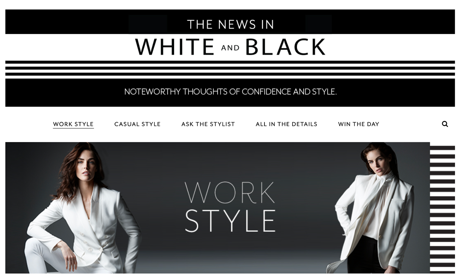 fashion brand has a blog with different categories to cater to different audiences